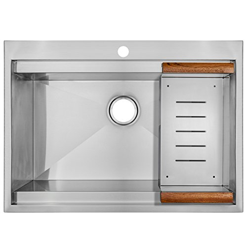 "Perfetto Kitchen and Bath 30"" x 22"" x 9"" Top Mount Single Bo"