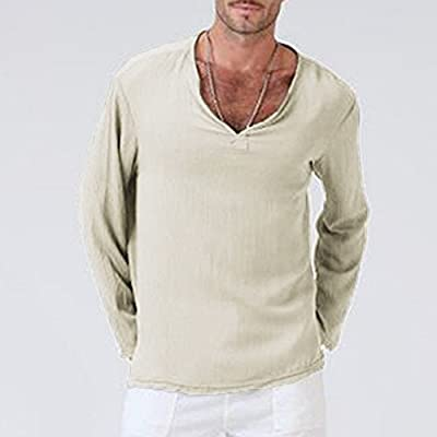 T-Shirt V-neck long sleeve top casual cotton knit top stretch solid top HG