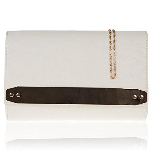 Xardi London New in similpelle donne pochette da sposa designer donne Evening party Handbags White