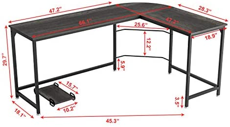 Teraves Reversible L-Shaped Desk Corner Gaming Computer Desk Office Workstation Modern Home Study Writing Wooden Table (Large, BOAK)