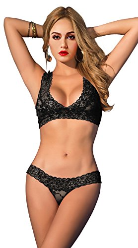 ETAOLINE Women's Sexy Floral Lace Sheer See Through Underwear Bra Panty Set,Black,Large