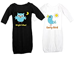 Just Multiples Twin Baby Gowns Set Night Owl Early Bird 0-3 Months Black & White