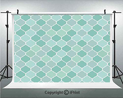 Turquoise Photography Backdrops Lined Endless Chained European Medieval Gradient Patterns Mosaic Ceramic Illustration,Birthday Party Background Customized Microfiber Photo Studio -