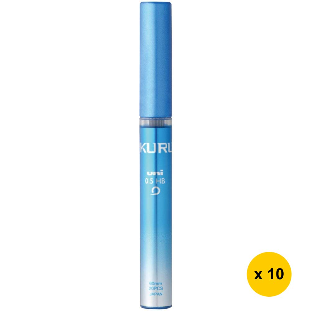 Uni KURU TOGA UNI0.5-203 0.5mm HB Refill Leads (Pack of 10) - Blue Case (with Sticky Notes)
