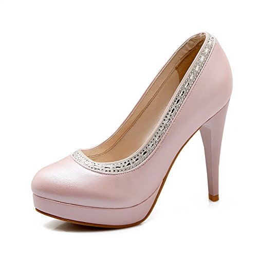 Shoes Material High Heels Pumps Round Pink Women's on Toe WeenFashion Soft Pull Solid Closed 17qFFw