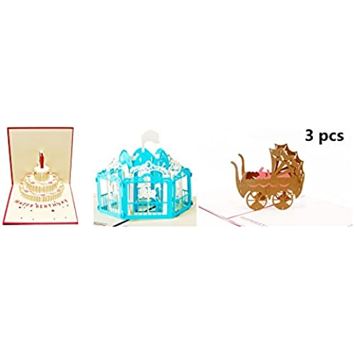Birthday Card, 3D Effect Of Pure Handmade Gift Cards(3 PACK) Sales