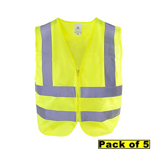 TR Industrial OSHA Class 2 Neon Yellow Zipper Knitted Safety Vest, 2 Pocket, Size Medium, Pack of 5