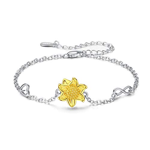 S925 Sterling Silver Sunflower Necklace Heart Pendant CZ Pave 14K Gold Dipped Flowers Necklaces Jewelry Gift for Her Mom Girls Lover Friends Women (Flower Bracelet)