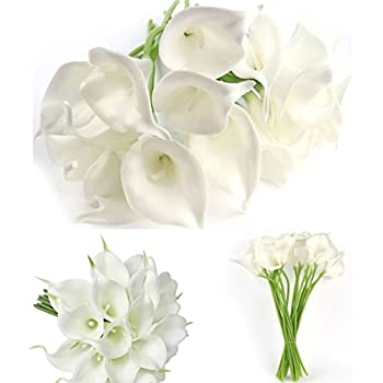 Amazon.com: 20 Pcs Artificial Calla Lily Flowes Muyee Real Touch ...