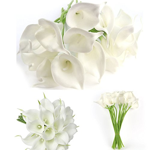 20 Pcs Artificial Calla Lily Flowes Muyee Real Touch Fake Flowers Wedding Bouquets Home Decorations (White)