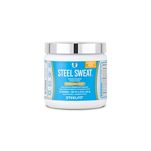 SteelFit, Steel Sweat Metabolic Catalyst Energy, Helps Increase Fat Oxidation and Perspiration, 30 Servings Strawberry Mango
