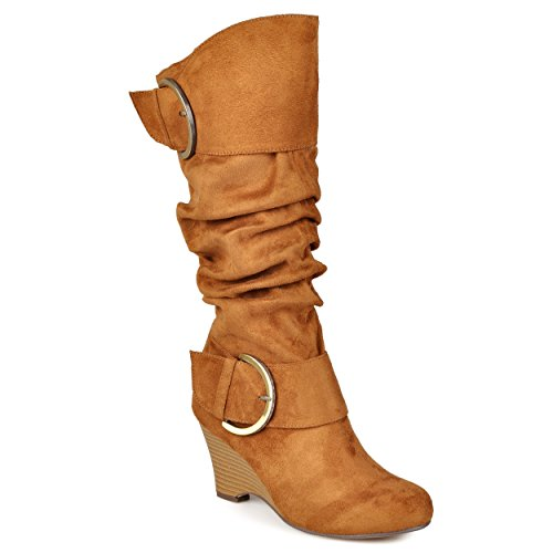 Journee Collection Womens Regular Sized and Wide-Calf Buckle Slouch Wedge Knee-High Boots Chestnut, 6 Regular - Slouch Knee Buckle Boot