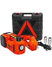 E-HEELP Electric Car Jack 5 Ton 12V Lifting Range 15-45.5cm Electric Hydraulic Jack with Impact Wrench & Inflator for SUV Tire Changes