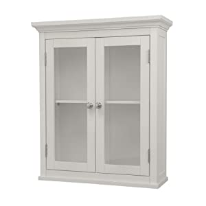 Elegant Home Fashions Madison Avenue Collection Shelved Wall Cabinet with Glass-Paneled Doors, White