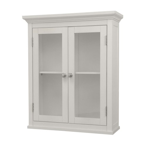 (Elegant Home Fashions Madison Collection Shelved Wall Cabinet with Glass-Paneled Doors, White)