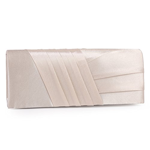 Damara Elegance Satin Cocktail Wedding Handbag Evening Clutch Bag,Champagne