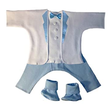 3b277848b Jacqui's Baby Boys' Dashing White & Blue Tuxedo Suit, Micro Preemie Size:  Micro