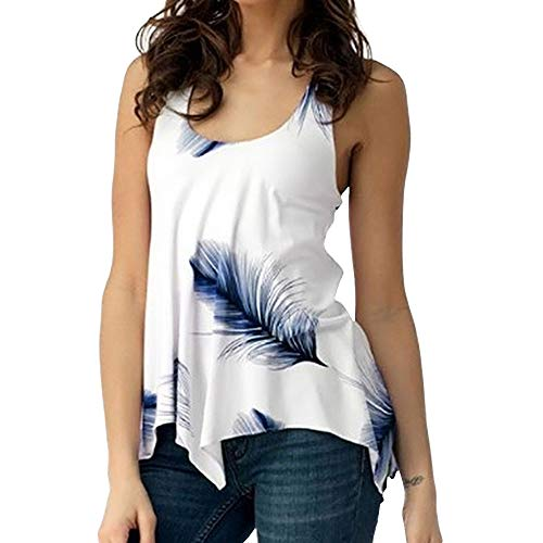- KCatsy U Neck Feather Print Lace Up Tank Top