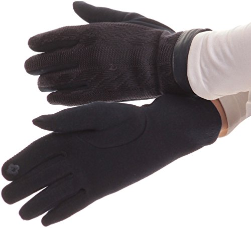 Sakkas 16167 - Rayanne Soft Classic Knit Faux Leather Wrist Band Touch Screen Warm Gloves - Navy - L/XL