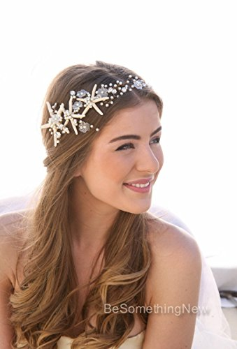 Amazon bridal hair accessory beach wedding starfishpearl wired bridal hair accessory beach wedding starfishpearl wired hair vine nautical bridal headpiece junglespirit Images