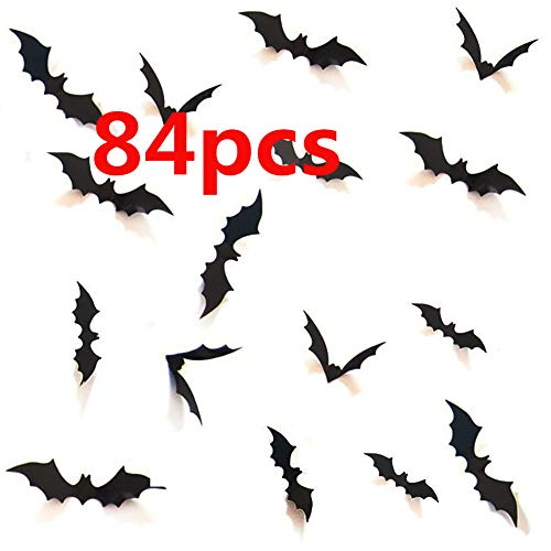 Halloween 3D Bats Decoration, Hallowmas Party Supplies Scary Bat Sticker for Home Decor DIY Window Decal Bathroom Indoor (84PCS)
