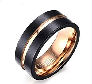 Ring made of tungsten with the seal inside is black in gold line and size 12