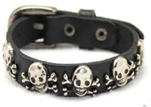 Leather Bracelet with Skull and Crossbones for the Pirate in You, Halloween Jewelry
