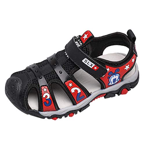 (Respctful✿ Baby Boys Girls Athletic Sports Sandals Closed -Toe Breathable Rubber Sole Toddler Walking Fisherman Sandal Black)