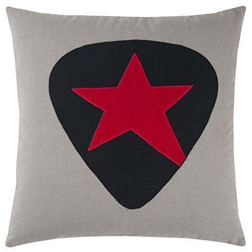"""Rizzy Home Andrew Charles Collection Applique Work Cotton Duck/Felt Decorative Pillow, 20"""" x 20"""", Grey/Black/Red"""