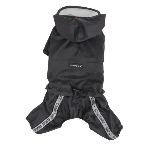 Puppia Authentic Race Track Hooded Jumpsuit, Black, ()