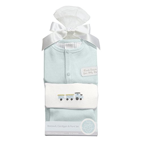 (C.R. Gibson Heaven Sent Newborn Cardigan and Pants Gift Set, Fits Sizes 0-3 Months, by Baby Dumpling - Blue)