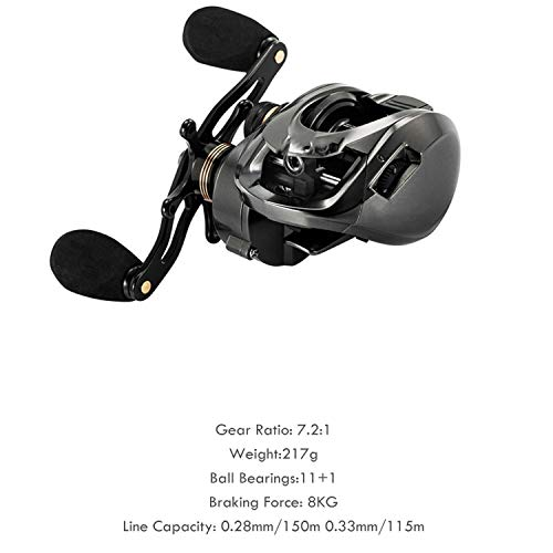 2019 Baitcasting Reel Gh100 Gh150 7.2:1 Carp Bait Cast Casting Fishing Reel for Trout Perch Tilapia Bass Fishing Tackle,Gh150,12,Left Hand