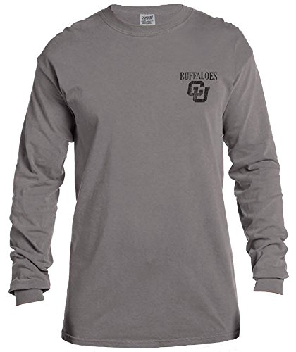 NCAA Colorado Buffaloes Vintage Poster Long Sleeve Comfort Color Tee, Large,Grey