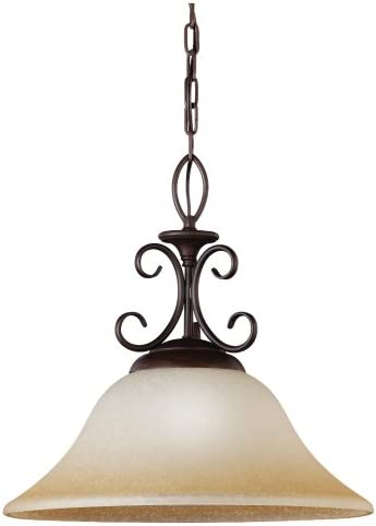 Sea Gull Lighting 65105-72 Monteclaire One-Light Pendant, Olde Iron Finish with Amber Scavo Glass