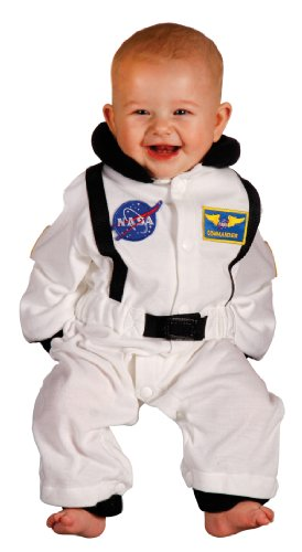 Aeromax Jr. Astronaut Suit with NASA patches and diaper snaps, WHITE, Size 6/12 (Infant Costumes)