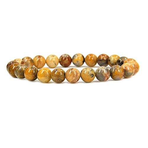 - Natural Crazy Lace Agate Gemstone 8mm Round Beads Stretch Bracelet 7