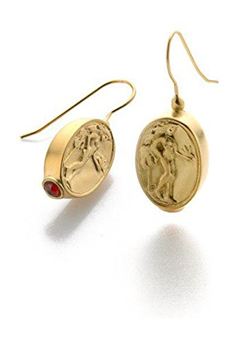 [Gold Finish Goddess Aphrodite Coin Drop Earrings, 1.25