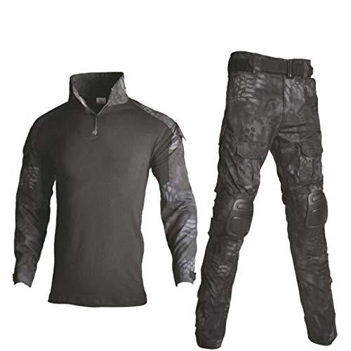 Uniforme militaire tactique camouflage pour homme avec chemise de combat + pantalon cargo genouillères 5