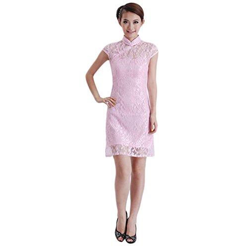 アサー包帯名前でHzjundasi ファッション 女性 改善された レトロ 半袖 レース Cheongsam ドレス エレガント レディース Qipao