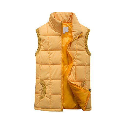 Jacket Lighweight Down Quilted Zip Yellow Women Sleeveless Gilet Vest Neck qFgwxx8