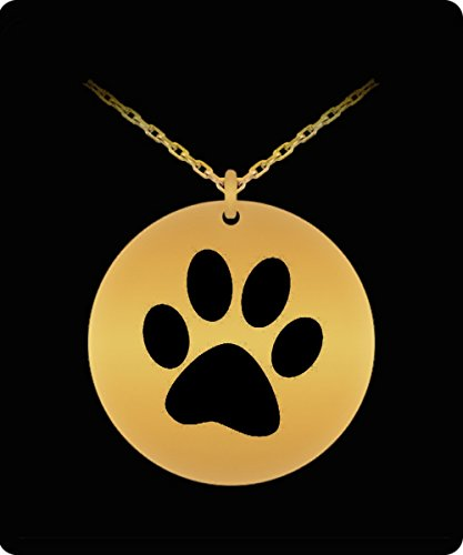Dog Paw Laser Engraved Necklace - 18k Gold Plated Round Pendant - Small Charm