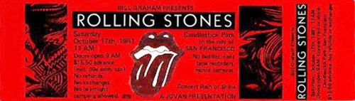 Rolling Stones 1981 Unused Concert Ticket San Francisco 10 17