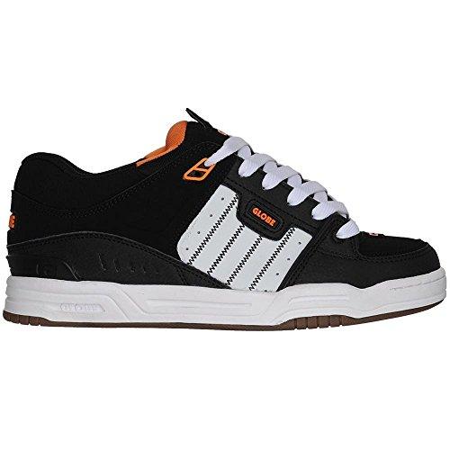 Globe Men's Fusion Skate Shoe, Black/White/Orange, 14