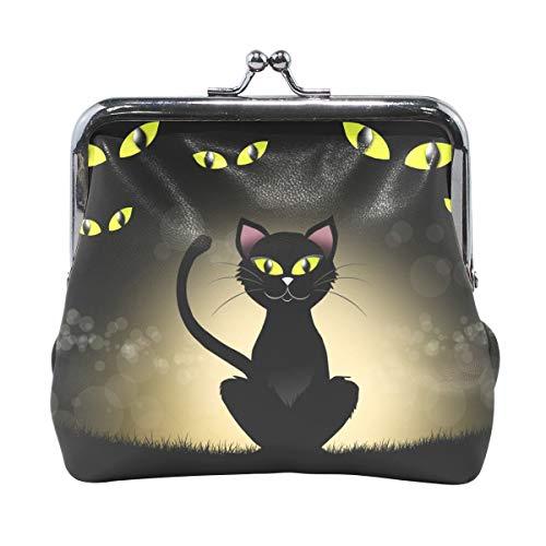 Coin Purses Halloween Black Cat Eye Kiss-lock Buckle Vintage Clutch Cosmetic Bags