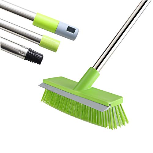 MEIBEI Floor Scrub Brush with Rubber Blade-48 Inches, Stiff Bristles Deck Brush with Adjustable Long Handle, Ideal for Cleaning Kitchen, Bathroom, Garage, Yard and Patio