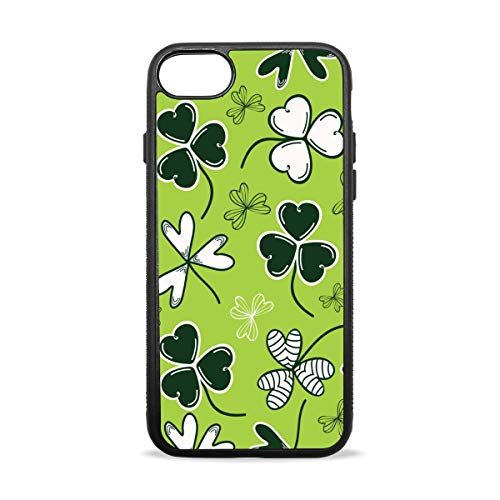 (Tile Weed Clover Leaf iPhone 7 Case iPhone 8 Case Soft Flexible TPU Silicone Slim Shockproof Cover for iPhone 7 8 Plus 4.7 5.5 Inch (Black))