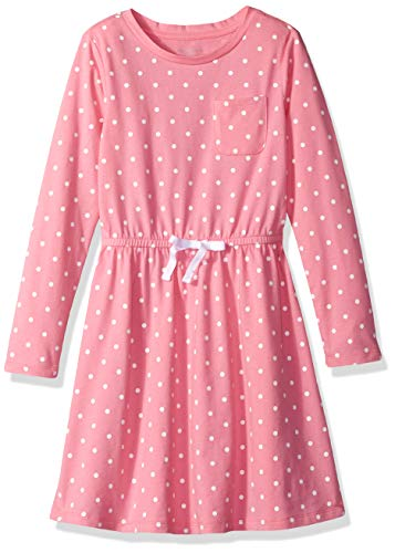 (Amazon Essentials Big Girls' Long-Sleeve Elastic Waist T-Shirt Dress, sachet pink/white simple dot with white bow, XXL)