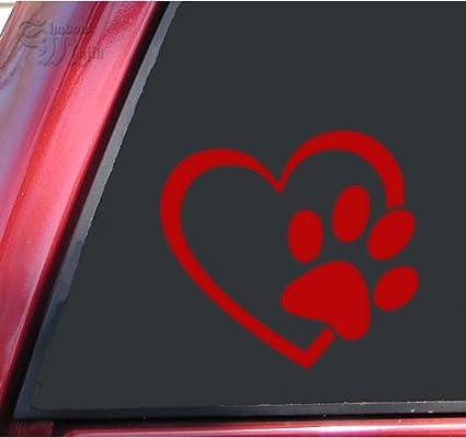 4 X 3.7, White ShadowMajik Enterprises Heart and Paw Print Vinyl Decal Sticker