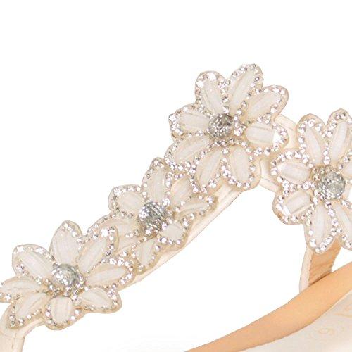 EnvyLondon - Sandalias de vestir para mujer blanco