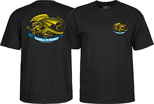 (Powell-Peralta Oval Dragon Black Boys Youth Short Sleeve T-Shirt - Small)